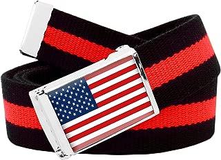 American Flag Flip Top Men's Belt Buckle with Canvas Web Belt