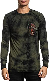 Affliction Men's Reversible Graphic Long Sleeve Shirt, Serpent Ritual Variant, Thermal Crew Neck