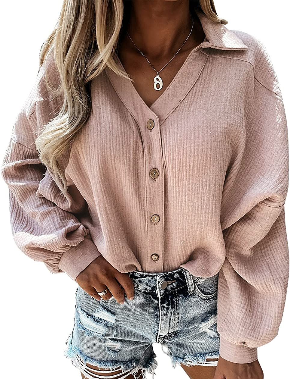 METINI Womens Casual Button Down Collared V Neck Blouses Long Sleeves Cotton Solid Color Tops Cute Loose Fit Shirts S-XXL