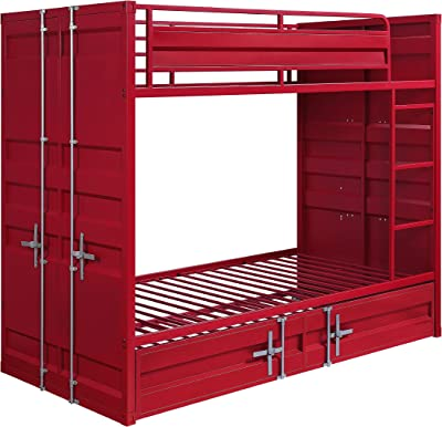 Benjara Industrial Style Twin Size Bunk Bed with Recessed Panel Design, Red