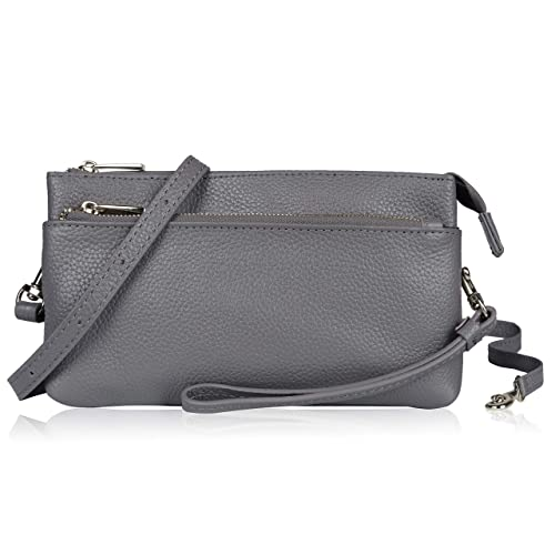 Befen Women Full Grain Leather Tripple Zip Crossbody Bag Crossbody Cell Phone  Wallet Purse Bag Phone