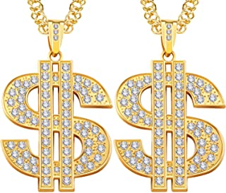 Tatuo 2 Pieces Gold Plated Chain for Men with Dollar Sign Pendant Necklace, Hip Hop Dollar Necklace