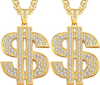 2 Pieces Gold Plated Chain for Men with Dollar Sign Pendant Necklace, Hip Hop Dollar Necklace (Dollar Necklace 2 Pieces)