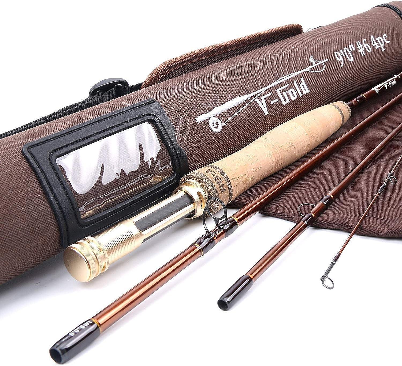 MAXIMUNCATCH V-Gold Fliegenrute IM12 Graphit 4 Teile Fliegenfischen Rute mit Cordura Rohr Angelrute in 4 5 6 8wt