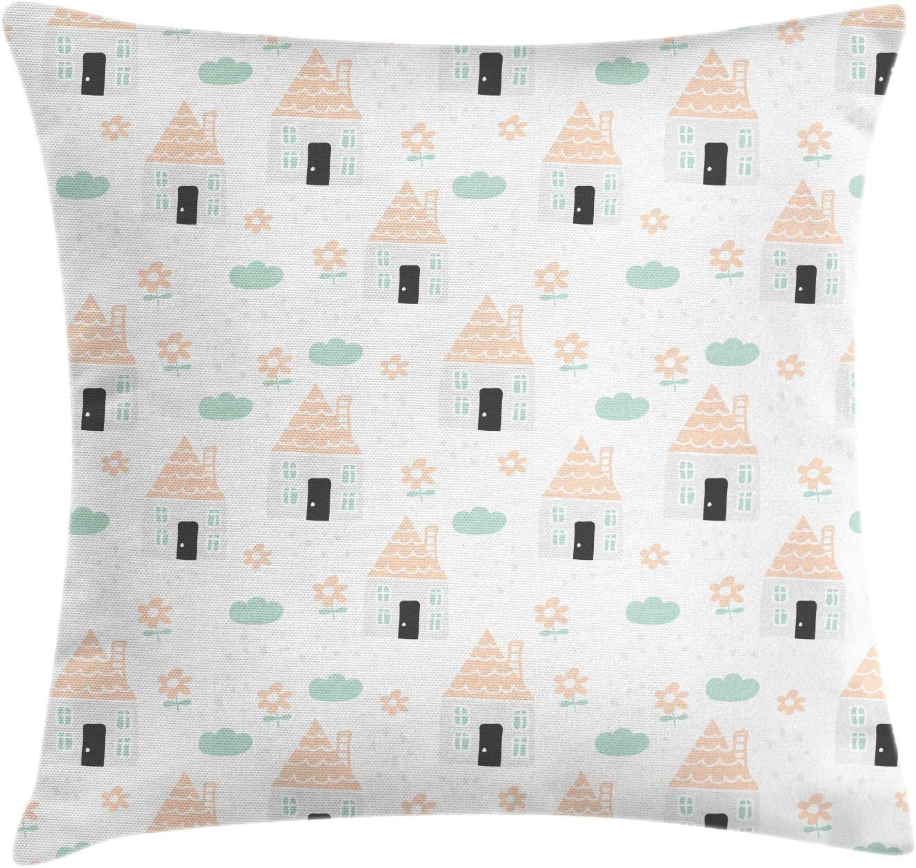 Lunarable Max 63% OFF Landscape Throw Pillow Cushion Cover Charlotte Mall Nursery Pattern