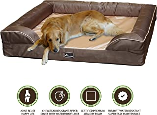 PetBed4Less Deluxe Dog Bed Sofa & Lounge w/Premium Orthopedic Memory Foam Heavy Duty Removable Zipper Cover + Free Bonus Waterproof Liner [Replacement Zipper Covers Available]