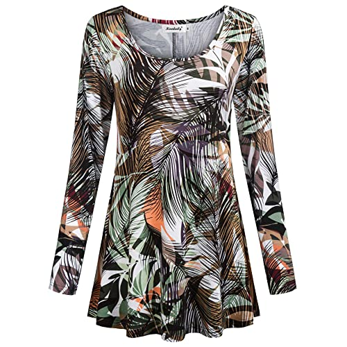 fc66605bea5ed Ninedaily Women's Tops Long Sleeve Scoop Neck Floral Loose Dressy Tunic  Blouse
