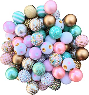 20mm Gold, Light Pink, Mint, White Mix 30 Count Chunky Bubble Gum Acrylic Beads Bulk Wholesale Pack Necklace Kit