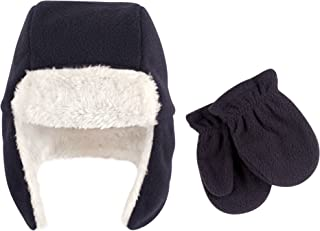 Unisex Baby Cozy Fleece Sherpa Trapper Hat and Mitten Set