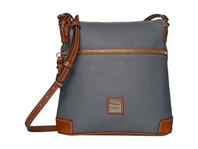 Dooney & Bourke Pebble Leather Crossbody (Slate/Tan Trim) Cross Body Handbags