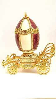 Handmade Russian Faberge egg style Royal Jeweled Authentic Goose egg Fabergé Wedding Ring proposal Musical Jewelry box Gift for her Handcrafted embellished 24K Gold 5.9