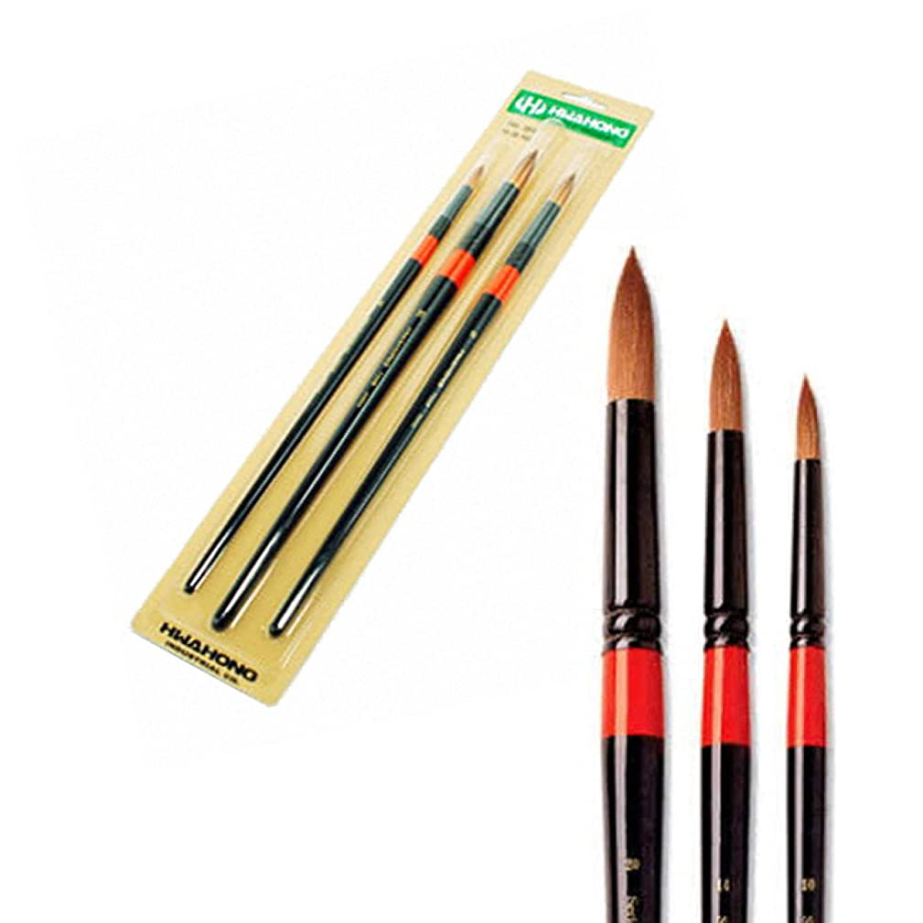 HWAHONG Artist Watercolor Paint Brush700R, Round Brush_Set of 3 Brushes setA