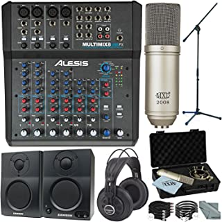 Alesis MultiMix 8 USB FX 8-Channel Mixer with Effects & USB Audio Interface Complete Studio Bundle w/Condenser Microphone, Studio Monitors, Monitoring Headphones, Much More