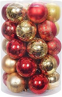 YILEEY Adornos de Navidad Decoracion 35 Piezas Dorado y Rojo, Arboles de Navidad Bolas de Plastico, en 8 Tipos, Caja de Bo...