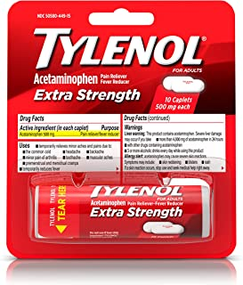 Tylenol Extra Strength Caplets with 500 mg Acetaminophen, Pain Reliever & Fever Reducer, For Headache, Backache & Menstrual Pain Relief, 10 ct
