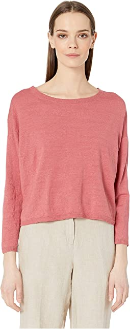 Organic Linen Crepe Stretch Jewel Neck Box-Top