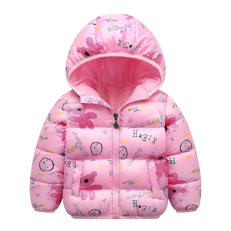 Kids Baby Hooded Down Jacket Boys Girls Winter Puffer Coat Padded Outerwear