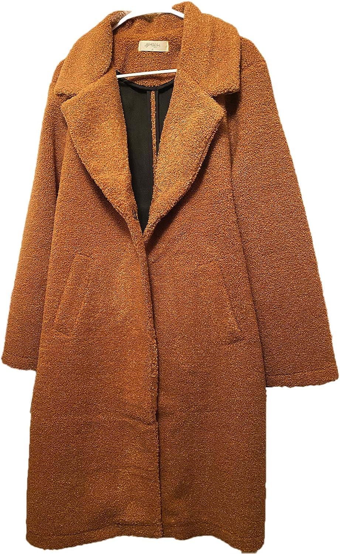 Women Faux Fur Coat, Long Warm Fuzzy Fleece Winter Jacket Coat,Camel Cardigan