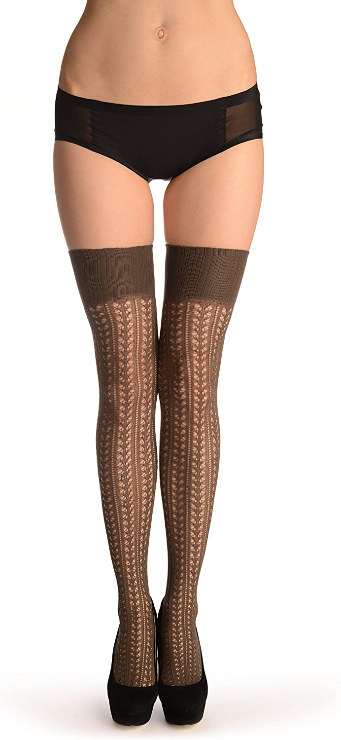 Grey Burlesque Stripes Crochet Lace With Elasticated Top - Stay - Up (Stockings)