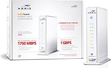 ARRIS Surfboard (24x8) Docsis 3.0 Cable Modem Plus AC1750 Dual Band Wi-Fi Router and Xfinity Telephone, Certified for Comcast Xfinity Only (SVG2482AC)