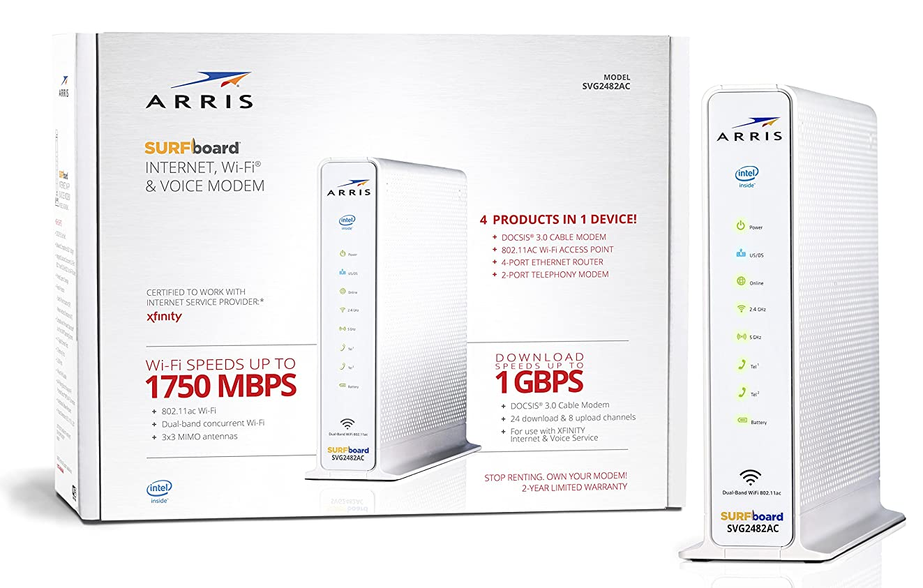ARRIS Surfboard (24x8) DOCSIS 3.0 Cable Modem Plus AC1750 Dual Band Wi-Fi Router and Xfinity Telephone, 1 Gbps Max Speed, Certified for Comcast Xfinity Only (SVG2482AC)