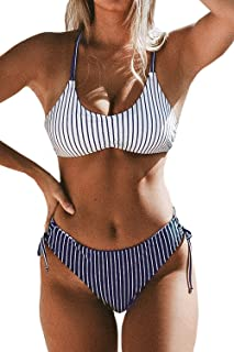 CUPSHE Women's Back Braided Straps Reversible Bottom Strappy Lace Up Bikini Sets