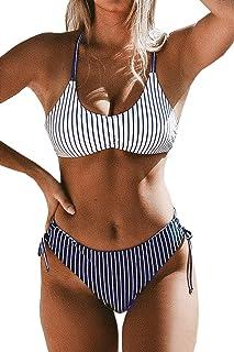 Women's Back Braided Straps Reversible Bottem Strappy Lace Up Bikini Sets