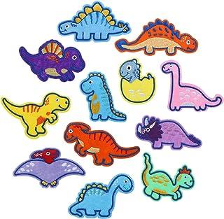 12 قطعة من رقع قماشية على شكل ديناصور من ليميسو، رقع قماشية بنمط ديناصور، رقعة قماشية للكي، مجموعة رقع قماشية ناقلة للجينز...