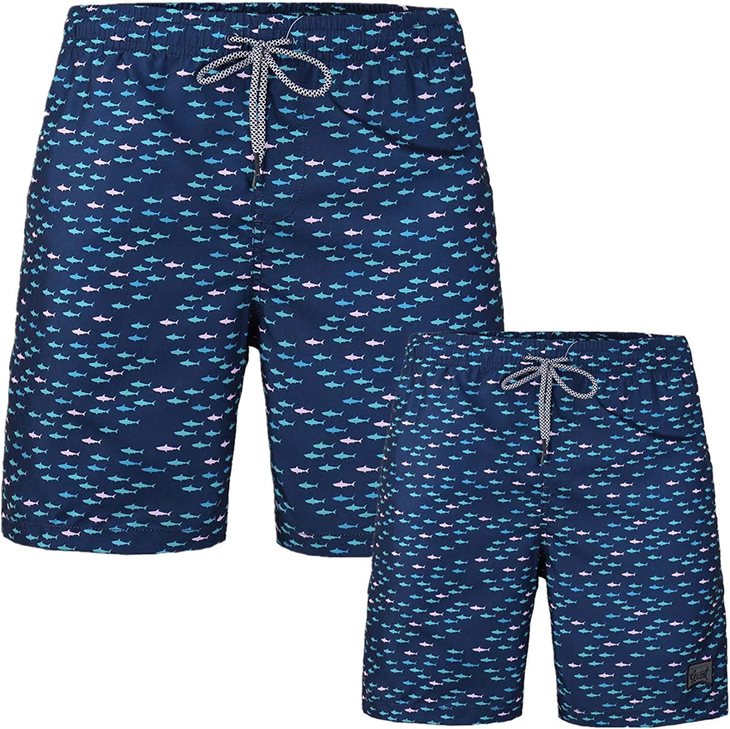 Father and BoysSwim Trunk with Pockets Beach Loose Vacation Board Shorts