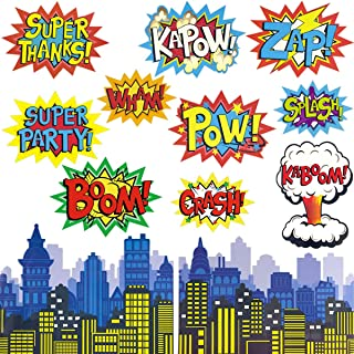 Fancy Land Superhero Action Signs Cutouts 12PCS Words and Cityscape Cut-Outs for Party Decoration SC-N1
