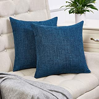 Best Anickal Set of 2 Dark Blue Pillow Covers Cotton Linen Decorative Square Throw Pillow Covers 18x18 Inch for Sofa Couch Decoration Review