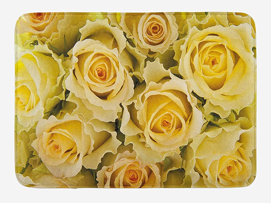 麻酔薬再集計下線Rose Bath Mat, Bridal Flourish Yellow Roses with Wavy Petals Feminine Romantic Close Up View, Plush Bathroom Decor Mat with Non Slip Backing, 23.6 W X 15.7 W Inches, Yellow Pale Green