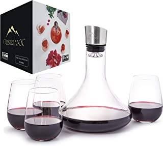 Wine Decanter - Hand Blown Crystal Clear, 100% Lead Free Red Wine Carafe with Stainless Steel Aerator and 4 Stemless Wine Glasses
