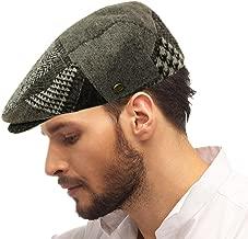 SK Hat shop Men's Winter 100% Soft Wool Patch Flat Ivy Driver Golf Cabby Cap Hat