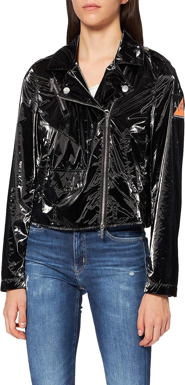 AX Armani Exchange Women's Iridescnent Coated Belted Moto Nylon Jacket