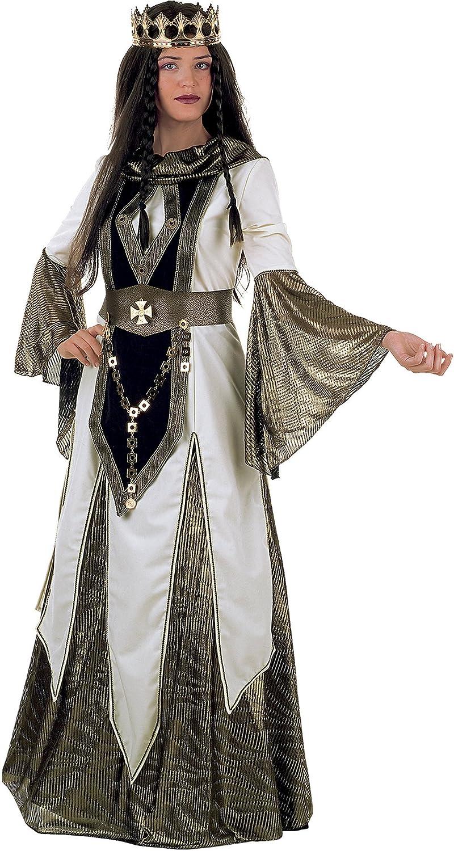 Generique - Kniginnen-Mittelalterkostüm für Damen schwarz-Weiss-Goldfarben