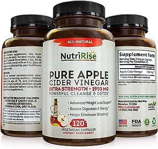 Apple Cider Vinegar Capsules - 3X Potency 1950mg - Weight Loss, Detox & Cleanse - Diet Pills for Women & Men, Keto Belly F...