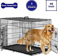 BMS Dog Crate 48 inch 42 inch Dog Kennel for Large Medium Dog Crate Folding Metal Dog Crate Indoor/Outdoor Double Door Tra...