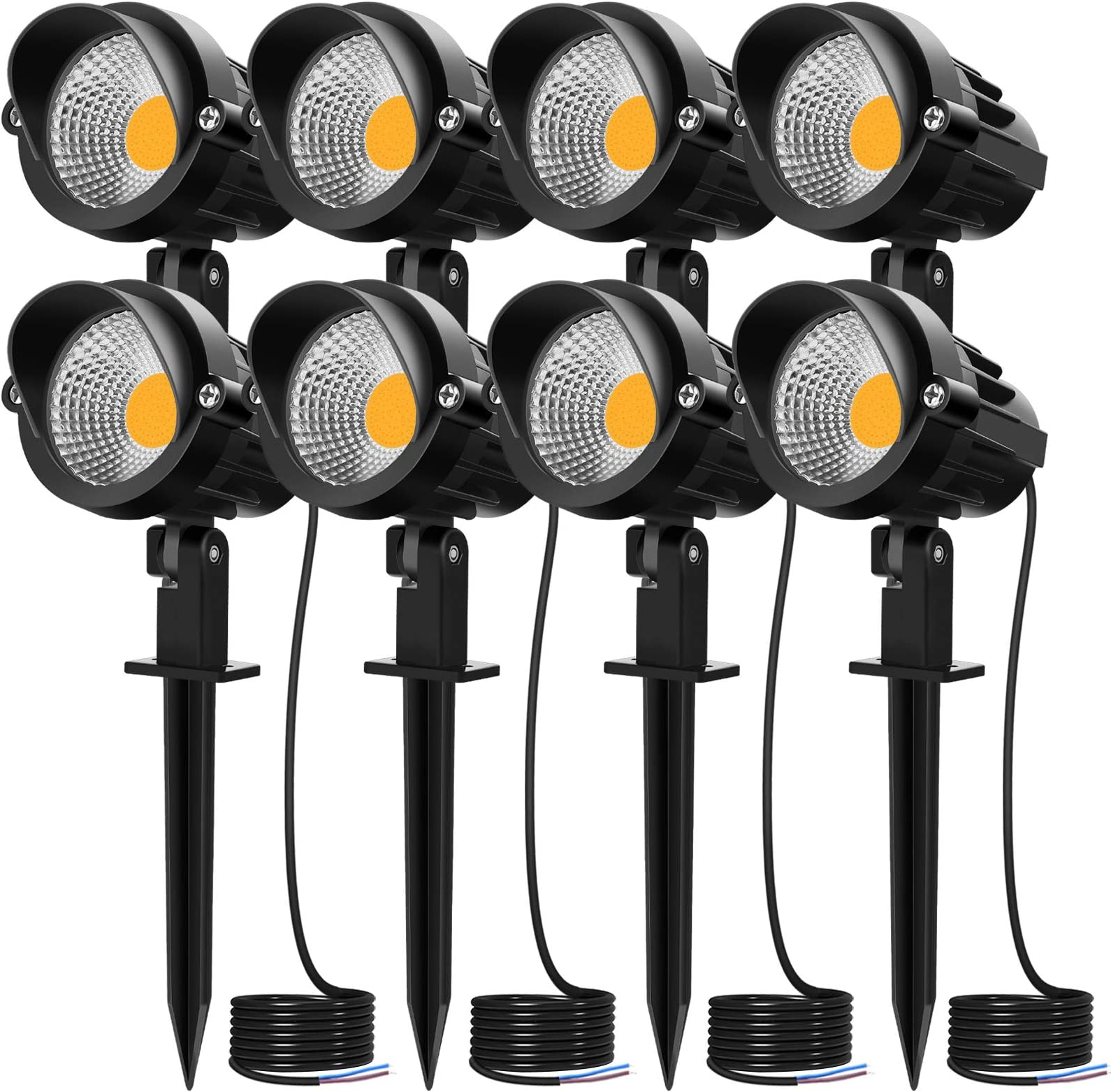 MEIKEE 7W LED Landscape Lights 12V 24V Low Voltage Landscape Lighting Garden Lights IP66 Waterproof Warm White Wall Tree Flag Spotlights with Spike Stand (8 Pack)