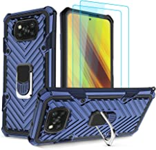 Sponsored Ad - Compatible with Xiaomi Poco X3 FNC Case with Tempered Glase Screen Protector (2Pack) Kickstand Shockproof P...