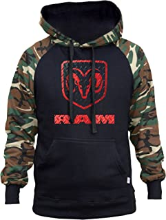 Men's Dodge Ram Logo Black/Camo Raglan Baseball Hoodie Black