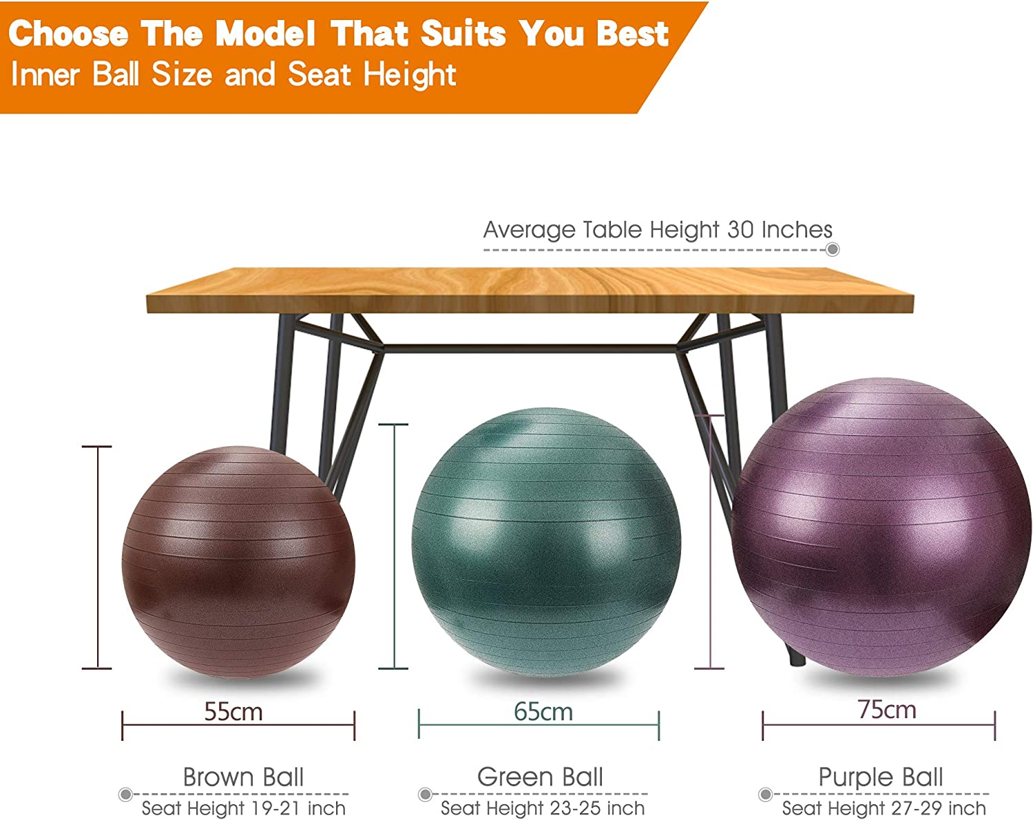 SportShiny Pro Balance Ball Chair Exercise Stability Yoga Ball with Cozy Slipcover,Stability Ring/&Air Pump for Office/& Home Desk,Improve Balance,Core Strength/&Posture,Relieve Back Pain,Multicolor