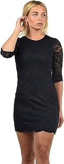 VERO MODA Ewelina Damen Etuikleid Mit Spitze Abendkleid Mit Rundhals-Ausschnitt Elastisch