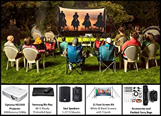 Recreation Series Complete Theater Kit! 11' Front and Rear Projection Screen with HD Optoma 1080p Projector, Sound System & Blu-Ray Player w/WiFi (EZ-300)