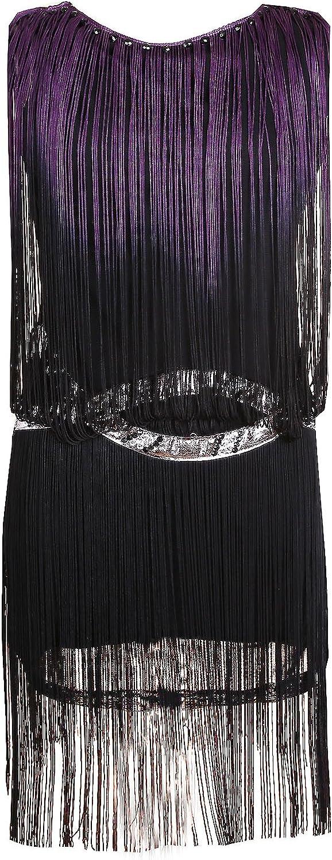Blingstory Elegant Sequin Dress Women Embellishe Fringed Paisley Flapper Dresses For Party Purple