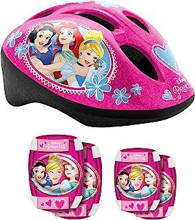 Stamp Sas Helmet + Elbow + Knee Pads Princess, Niñas, Pink, 53/56 Cm