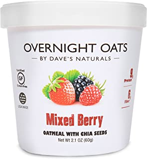 Overnight Oats by Dave's Naturals Mixed Berry with Summertime Blackberries, Raspberries, Strawberries, Chia Seeds, & Whole...