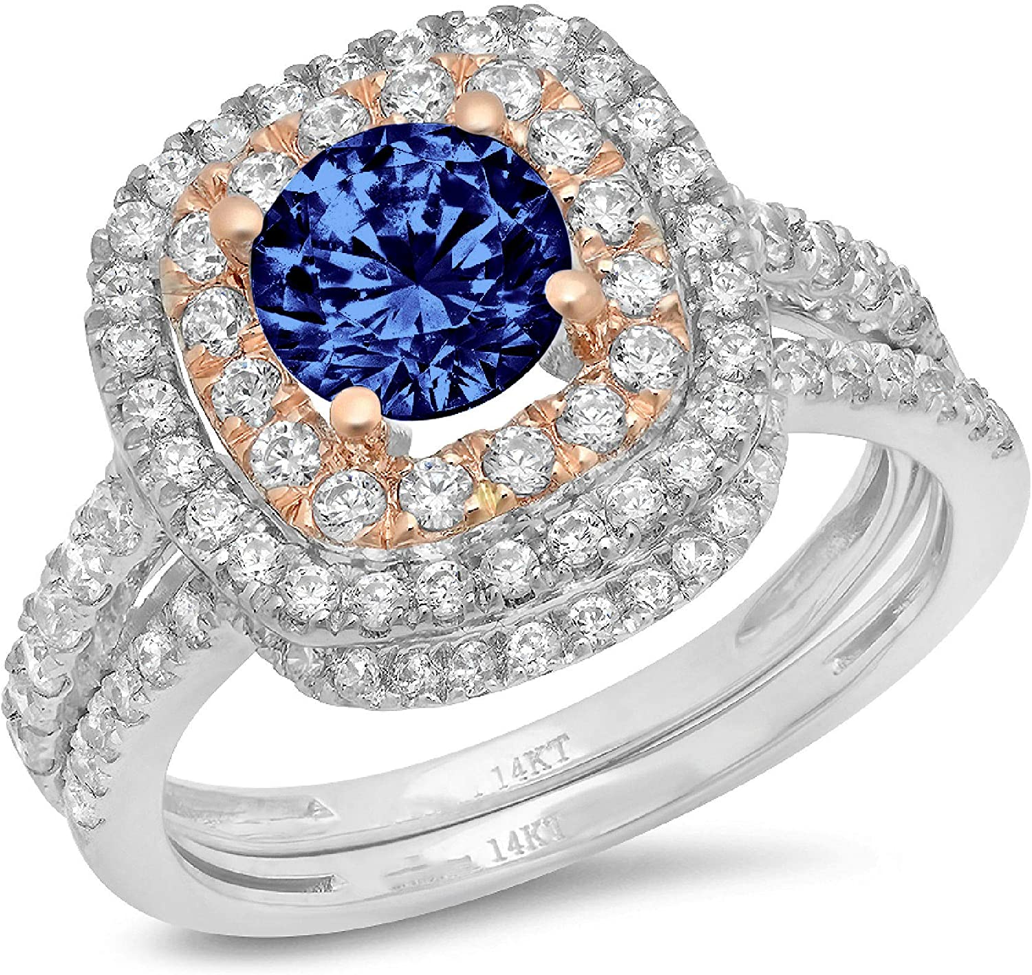 1.95 ct Round Sale special price Cut Halo Simula Accent Solitaire Max 82% OFF Genuine Pave
