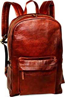 "18"" Brown Leather Backpack Vintage Rucksack Laptop Bag Water Resistant Casual Daypack College Bookbag Comfortable Lightweight Travel Backpack Hiking/Picnic Bag for Men"