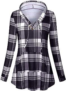 Cucuchy Women's Long Sleeve V Neck Plaid Tunic Hoodie Sweatshirts with Pocket